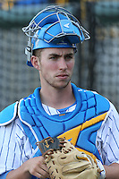 Keenan Pierandozzi #41 of the UCLA Bruins during a game against the Cal Poly Mustangs at Jackie Robinson Stadium on February 22, 2014 in Los Angeles, California. Cal Poly defeated UCLA, 8-0. (Larry Goren/Four Seam Images)
