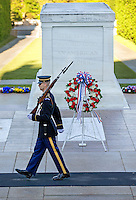 A soldier on guard at the Tomb of the Unknown Soldier in Washington DC.