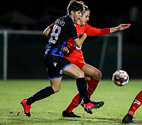 Isabelle Iliano (18) of Club Brugge and \w20 battle for the ball during a female soccer game between FC Femina White Star Woluwe and Club Brugge YLA on the eleventh matchday of the 2020 - 2021 season of Belgian Scooore Womens Super League , Friday 22 January 2021  in Woluwe , Belgium . PHOTO SPORTPIX.BE   SPP   SEVIL OKTEM