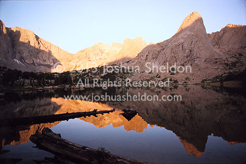 Reflection of mountains and felled trees in lake<br />