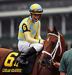 LOUISVILLE, KY - OCT 01:  Noble Bird (#6 , jockey Julien Leparoux) wins the 4th running of the Lukas Classic at Churchill Downs, Louisville, KY. Owner John C. Oxley, trainer Mark Casse.<br />  (Photo by Mary M. Meek/Eclipse Sportswire/Getty Images)