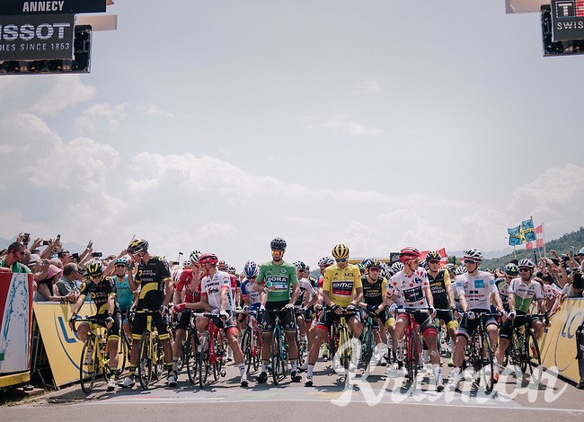 Green Peter Sagan (SVK/Bora-Hansgrohe), yellow Greg Van Avermaet (BEL/BMC), polka dotted Tom Skujins (LAT/Trek Segafredo) & white Søren Kragh Andersen (DEN/Sunweb)at the start line; ready to roll<br /> <br /> Stage 10: Annecy > Le Grand-Bornand (159km)<br /> <br /> 105th Tour de France 2018<br /> ©kramon