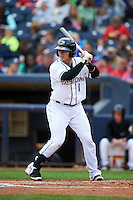 Akron RubberDucks catcher Tony Wolters (1) at bat during a game against the New Britain Rock Cats on May 21, 2015 at Canal Park in Akron, Ohio.  Akron defeated New Britain 4-2.  (Mike Janes/Four Seam Images)