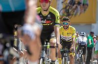 Yellow Jersey Fernando Gaviria (COL/Quick Step Floors) on his way to the pre race sign on.<br /> <br /> Stage 2: Mouilleron-Saint-Germain > La Roche-sur-Yon (183km)<br /> <br /> Le Grand Départ 2018<br /> 105th Tour de France 2018<br /> ©kramon