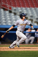 Trenton Thunder center fielder Dustin Fowler (10) at bat during the first game of a doubleheader against the Hartford Yard Goats on June 1, 2016 at Sen. Thomas J. Dodd Memorial Stadium in Norwich, Connecticut.  Trenton defeated Hartford 4-2.  (Mike Janes/Four Seam Images)