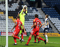 31st October 2020; Deepdale Stadium, Preston, Lancashire, England; English Football League Championship Football, Preston North End versus Birmingham City; Birmingham City goalkeeper Neil Etheridge leaps to claim a cross under pressure from Jayden Stockley of Preston North End