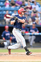 Hagerstown Suns left fielder Ian Sagdal (13) swings at a pitch during a game against the  Asheville Tourists at McCormick Field on September 4, 2016 in Asheville, North Carolina. The Suns defeated the Tourists 10-5. (Tony Farlow/Four Seam Images)