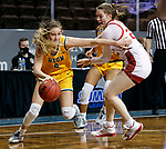 SIOUX FALLS, SD - MARCH 8: Kadie Deaton #3 of the North Dakota State Bison drives past Chloe Lamb #22 of the South Dakota Coyotes during the Summit League Basketball Tournament at the Sanford Pentagon in Sioux Falls, SD. (Photo by Richard Carlson/Inertia)