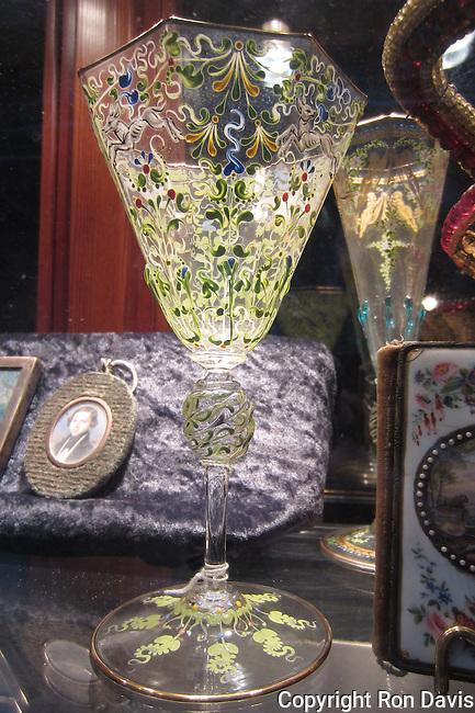 Venecian glass in shop window, in the Ghetto, Cannaregio area, Venice, Italy