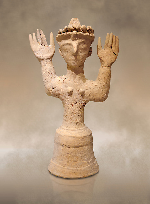 Minoan Postpalatial terracotta  goddess statue with raised arms and a crown of snakes, Kannia Sanctuary,  Gortys, 1350-1250 BC, Heraklion Archaeological Museum. <br /> <br /> The Goddesses are crowned with symbols of earth and sky in the shapes of snakes and birds, describing attributes of the goddess as protector of nature.