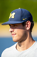 Michigan Wolverines pitcher Steven Hajjar (27) before the NCAA baseball tournament against the Connecticut Huskies on June 4, 2021 at Frank Eck Stadium in Notre Dame, Indiana. The Huskies defeated the Wolverines 6-1. (Andrew Woolley/Four Seam Images)