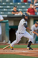Jo Adell (26) of the Salt Lake Bees at bat against the New Orleans Baby Cakes at Smith's Ballpark on August 4, 2019 in Salt Lake City, Utah. The Baby Cakes defeated the Bees 8-2. (Stephen Smith/Four Seam Images)