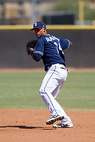 San Diego Padres second baseman Luis Almanzar (14) during an Instructional League game against the Milwaukee Brewers on September 27, 2017 at Peoria Sports Complex in Peoria, Arizona. (Zachary Lucy/Four Seam Images)