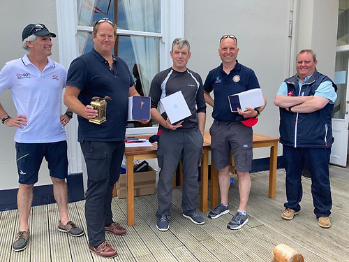 From left -  Joey Mason Dublin Bay Dragon Class Captain, Winning skipper Cameron Good with crew Henry Kingston and Matthias Hellstern and Royal St. George Y Commodore Richard O'Connor