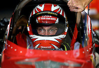 Sep 13, 2013; Charlotte, NC, USA; NHRA top fuel dragster driver Doug Kalitta during qualifying for the Carolina Nationals at zMax Dragway. Mandatory Credit: Mark J. Rebilas-