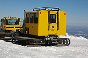 Snowcat on the summit of Mount Washington in the White Mountains, New Hampshire during the winter months. Mount Washington, at 6,288 feet, is the tallest mountain in the northeastern United States.
