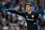 Goalkeeper Kepa Arrizabalaga Revuelta of Athletic Club de Bilbao reacts during the La Liga 2017-18 match between Real Madrid and Athletic Club Bilbao at Estadio Santiago Bernabeu on April 18 2018 in Madrid, Spain. Photo by Diego Souto / Power Sport Images