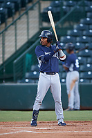 Yordi Francisco (5), of the AZL Padres 1, at bat during an Arizona League game against the AZL Angels on August 5, 2019 at Tempe Diablo Stadium in Tempe, Arizona. AZL Padres 1 defeated the AZL Angels 5-0. (Zachary Lucy/Four Seam Images)