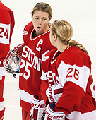 Alexis Crossley (BU - 25), Connor Galway (BU - 26) - The Boston College Eagles defeated the visiting Boston University Terriers 5-3 (EN) on Friday, November 4, 2016, at Kelley Rink in Conte Forum in Chestnut Hill, Massachusetts.The Boston College Eagles defeated the visiting Boston University Terriers 5-3 (EN) on Friday, November 4, 2016, at Kelley Rink in Conte Forum in Chestnut Hill, Massachusetts.