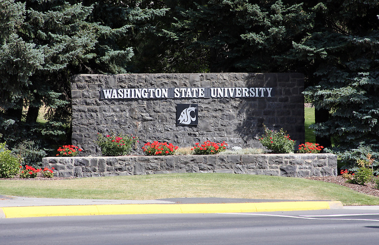 Washington State University sign at the main entrance to the campus in Pullman, Washington.