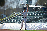 West Virginia Mountaineers first baseman Ryan Archibald (5) stretches for a throw during the game against the Illinois Fighting Illini at TicketReturn.com Field at Pelicans Ballpark on February 23, 2020 in Myrtle Beach, South Carolina. The Fighting Illini defeated the Mountaineers 2-1.  (Brian Westerholt/Four Seam Images)