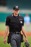 Umpire Alex Ransom during a game between the Tennessee Smokies and Montgomery Biscuits on May 25, 2015 at Riverwalk Stadium in Montgomery, Alabama.  Tennessee defeated Montgomery 6-3 as the game was called after eight innings due to rain.  (Mike Janes/Four Seam Images)
