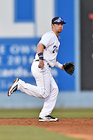 Asheville Tourists shortstop Brendan Rodgers (1) during a game against the Lexington Legends at McCormick Field on April 19, 2016 in Asheville, North Carolina. The Legends defeated the Tourists 11-9. (Tony Farlow/Four Seam Images)