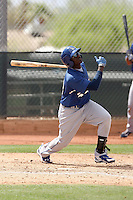 Trayvon Robinson of the Los Angeles Dodgers plays in a minor league spring training game against the Milwaukee Brewers at the Brewers minor league complex on April 2, 2011  in Phoenix, Arizona. .Photo by:  Bill Mitchell/Four Seam Images.