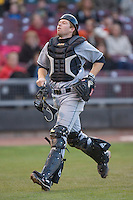 Catcher Matt Wallach #22 of the Great Lakes Loons chases after a foul pop at Fifth Third Field April 22, 2009 in Dayton, Ohio. (Photo by Brian Westerholt / Four Seam Images)