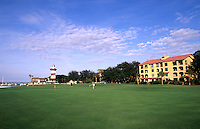 Resort golf course called Harbourtown Golf Links and historic lighthouse, Hilton Head, South Carolina, USA