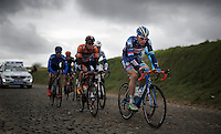 Kevin Van Melsen (BEL/Wanty-Groupe Gobert) leading over the cobbles of the Holleweg<br /> <br /> 71st Dwars door Vlaanderen (1.HC)