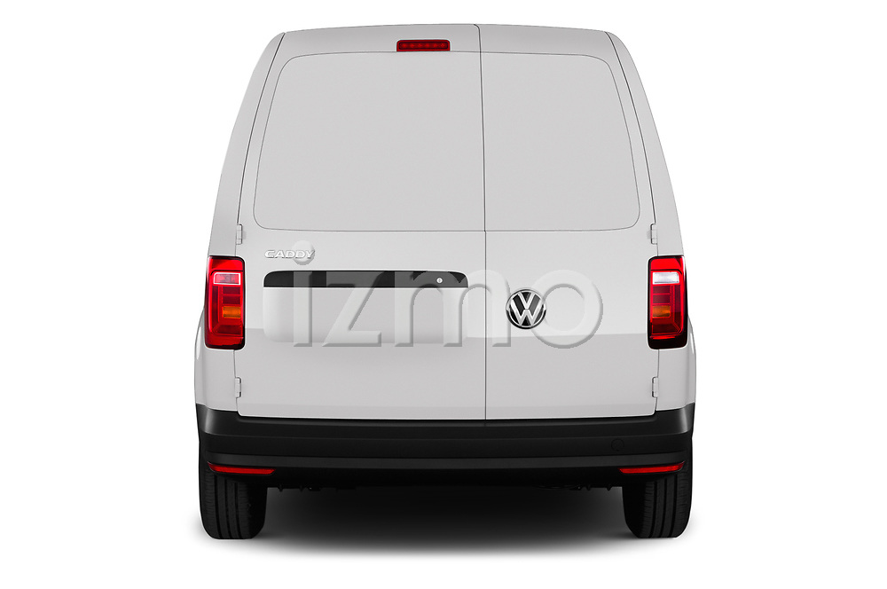 Straight rear view of a 2019 Volkswagen Caddy Van Base 4 Door Car van stock images