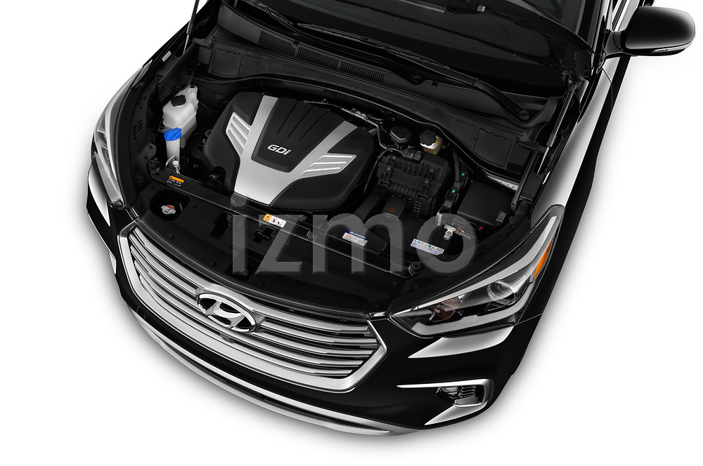 Car stock 2019 Hyundai Santa FE XL Limited Ultimate 5 Door SUV engine high angle detail view