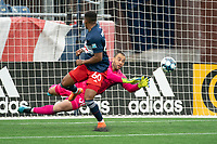 FOXBOROUGH, MA - APRIL 17: Earl Edwards Jr. #90 of New England Revolution II deflects a shot at goal during a game between Richmond Kickers and Revolution II at Gillette Stadium on April 17, 2021 in Foxborough, Massachusetts.