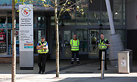 Pictured: The bus station entrance which is closed by police Wednesday 24 May 2017<br />Re: The Quadrant shopping centre in Swansea has been evacuated following reports of a suspicious package being found.<br />The bus station and Swansea Indoor Market have also been closed as part of the evacuation.