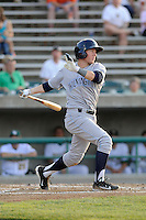 Center fielder Ethan Chapman (14) of the Wilmington Blue Rocks bats in a game against the Lynchburg Hillcats on Tuesday, June 25, 2013, at Calvin Falwell Field in Lynchburg, Virginia. Lynchburg won, 3-2. (Tom Priddy/Four Seam Images)