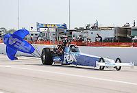 Apr. 26, 2013; Baytown, TX, USA: NHRA top fuel dragster driver T.J. Zizzo during qualifying for the Spring Nationals at Royal Purple Raceway. Mandatory Credit: Mark J. Rebilas-