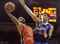Arthur Trousdell marks Kevin Braswell (left) during the NBL basketball match between the Wellington Saints and the Zerofees Southland Sharks at TSB Bank Arena, Wellington, New Zealand on Thursday, 22 March 2012. Photo: Dave Lintott / lintottphoto.co.nz