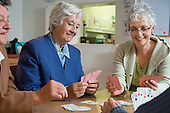Playing cards at Dorchester Age Concern Day Centre.