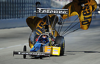 Feb. 10, 2012; Pomona, CA, USA; NHRA top fuel dragster driver Rod Fuller during qualifying at the Winternationals at Auto Club Raceway at Pomona. Mandatory Credit: Mark J. Rebilas-