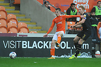 Blackpool's Ben Woodburn vies for possession with Milton Keynes Dons' Dean Lewington<br /> <br /> Photographer Kevin Barnes/CameraSport<br /> <br /> The EFL Sky Bet League One - Blackpool v Milton Keynes Dons - Saturday 24 October 2020 - Bloomfield Road - Blackpool<br /> <br /> World Copyright © 2020 CameraSport. All rights reserved. 43 Linden Ave. Countesthorpe. Leicester. England. LE8 5PG - Tel: +44 (0) 116 277 4147 - admin@camerasport.com - www.camerasport.com