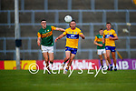 Cian O Dea, Clare, in action against Seán O'Shea, Kerry, during the Munster Football Championship game between Kerry and Clare at Fitzgerald Stadium, Killarney on Saturday.