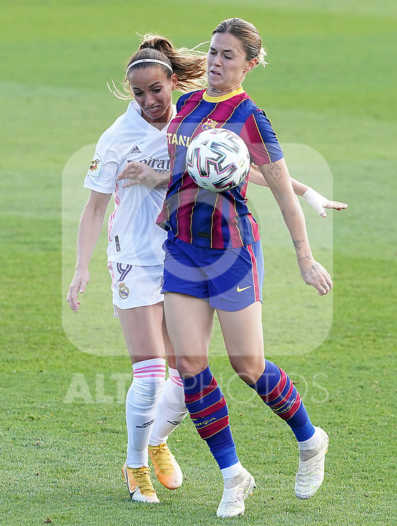 First official match and first classic in the history of women's Real Madrid.<br /> Real Madrid's Kosovare Asllani (l) and FC Barcelona's Mapi Leon during Spanish Female League match. October 4,2020. (ALTERPHOTOS/Acero)