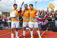 London, UK on Sunday 31st August, 2014. James Yammouni (left), Luke Brooks (centre) and Jai Brooks (right) of The Janoskians, during the Soccer Six charity celebrity football tournament at Mile End Stadium, London.
