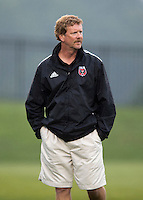 Head coach Mike Jorden of the D.C. United Women watches his team during the game at the Maryland SoccerPlex in Boyds, Maryland.  The D.C. United Women defeated the Virginia Beach Piranhas, 3-0, to advance to the W-League Eastern Conference Championship.