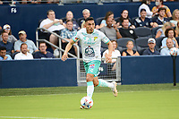 KANSAS CITY, KS - AUGUST 10: William Tesillo #6 Club Leon with the ball during a game between Club Leon and Sporting Kansas City at Children's Mercy Park on August 10, 2021 in Kansas City, Kansas.