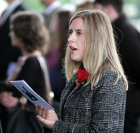 Pictured: A Welsh Government employee sings one of the hymns during the service. Wednesday 31 May 2017<br />
