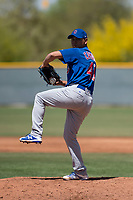 Chicago Cubs relief pitcher Jesus Camargo (41) prepares to deliver a pitch during an Extended Spring Training game against the Colorado Rockies at Sloan Park on April 17, 2018 in Mesa, Arizona. (Zachary Lucy/Four Seam Images)