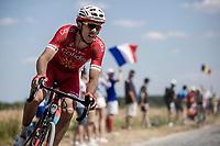 Christophe Laporte (FRA/Cofidis) riding the cobbles. <br /> <br /> Stage 9: Arras Citadelle > Roubaix (154km)<br /> <br /> 105th Tour de France 2018<br /> ©kramon