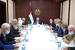 Palestinian president Mahmoud Abbas chairs Central Committee meeting in the West Bank city of Ramallah on August 24, 2021. Photo by Thaer Ganaim